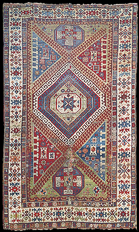 A West Anatolian Rug Bergama District 18th Century Areas Of Wear And Tear Some Losses Tered Repairs Corroded Black Selvages Ends Frayed