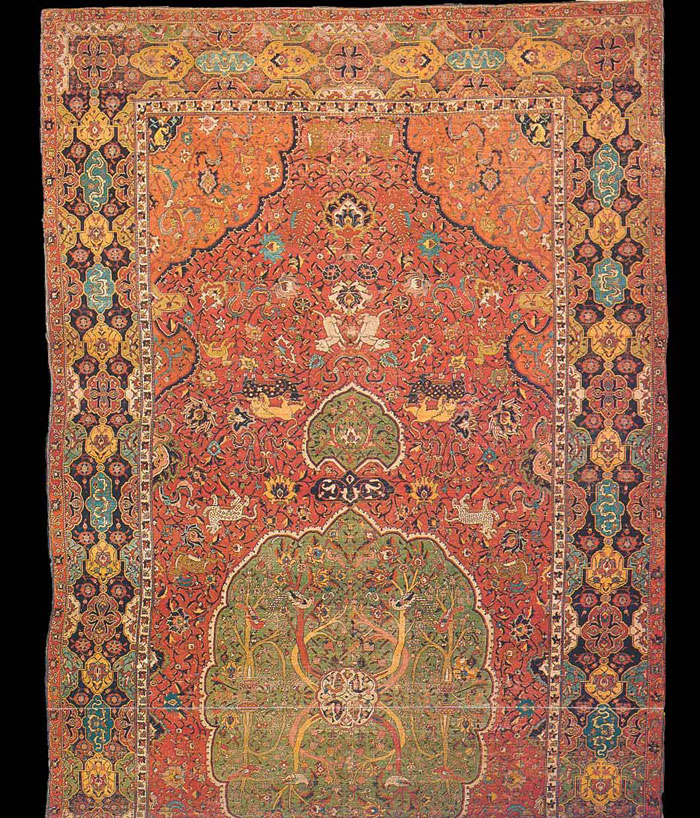 "Historical Safavid Kashan Rug, ""Dragon & Phoenix"", Rewoven"
