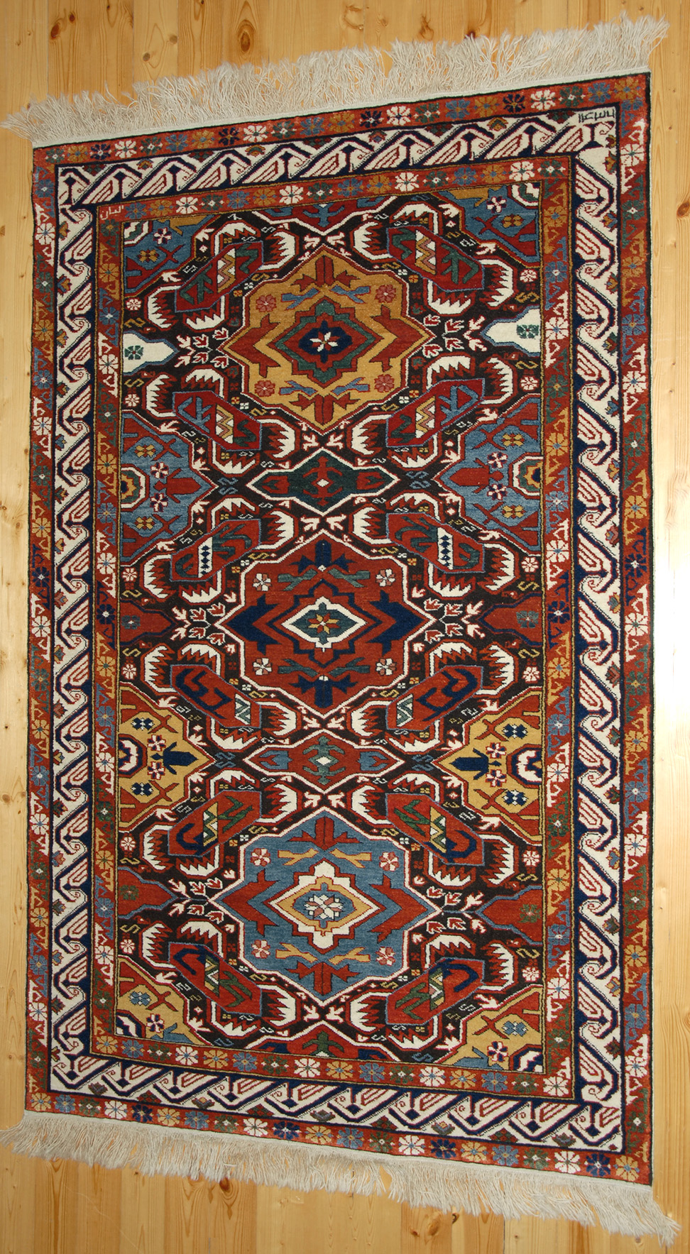 Kuba Alpan Rug With The Quot Crab Quot Design In A Dark Brown Ground