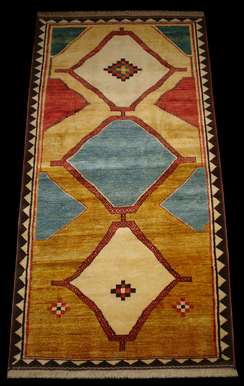 Qashqai Gabbeh Rug With Three Hexagonal Medallions