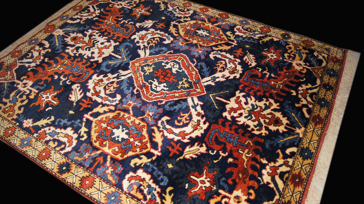 Karabagh Rug With A Medallion And Sickle Leaves Design