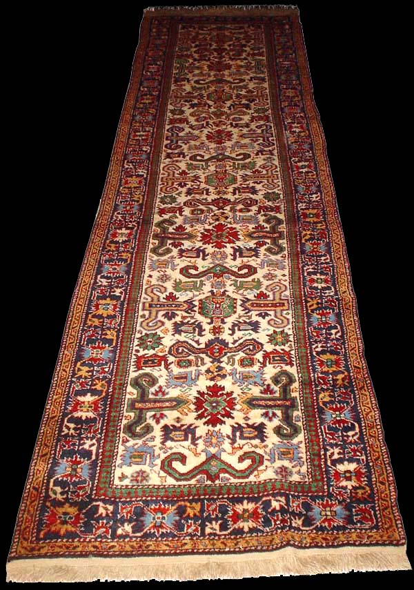Caucasian Kuba Perepedil Runner Rug With White Background