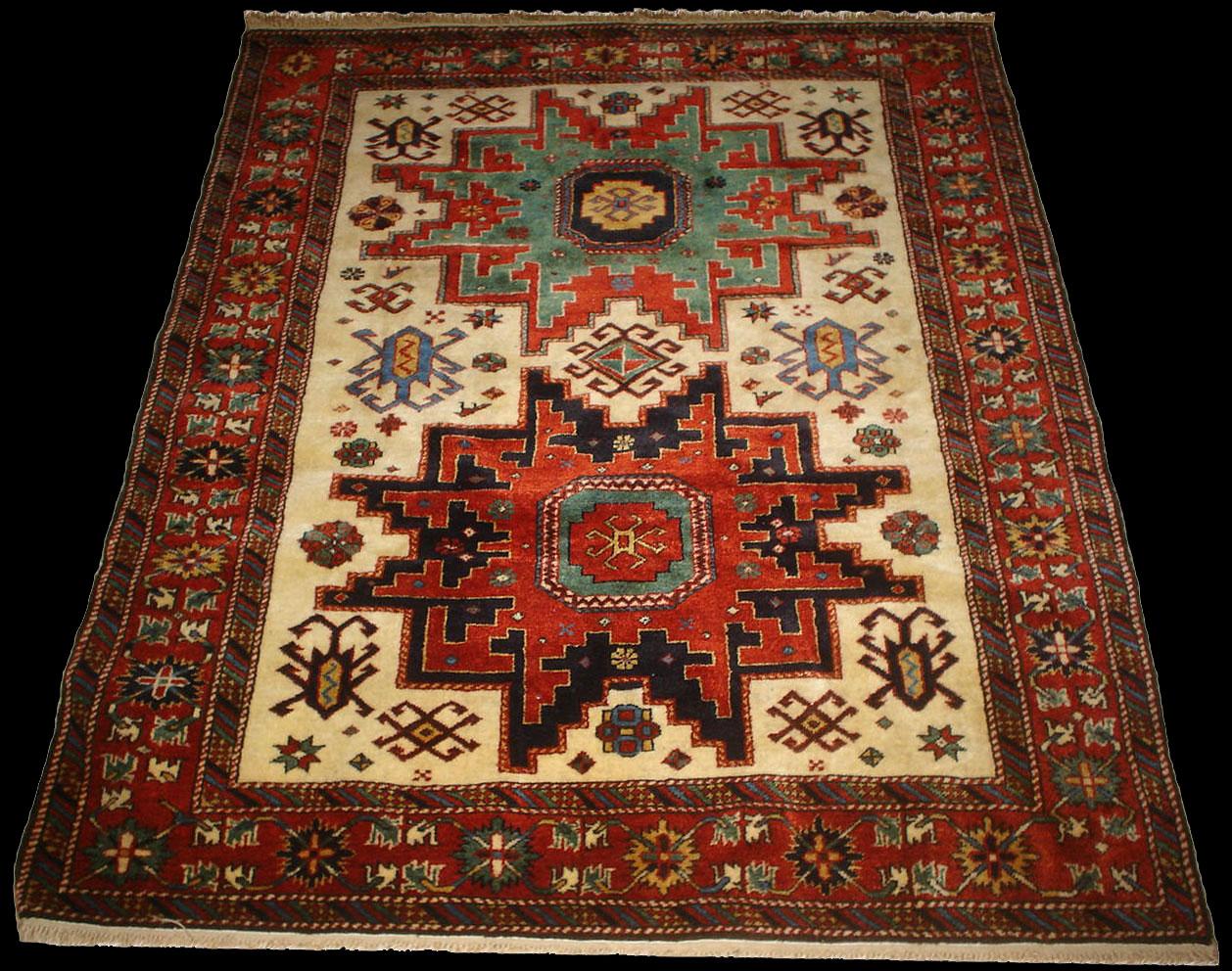 A Lesghi Star Rug Caucasian Zeyve Rug Azerbaijan Pure
