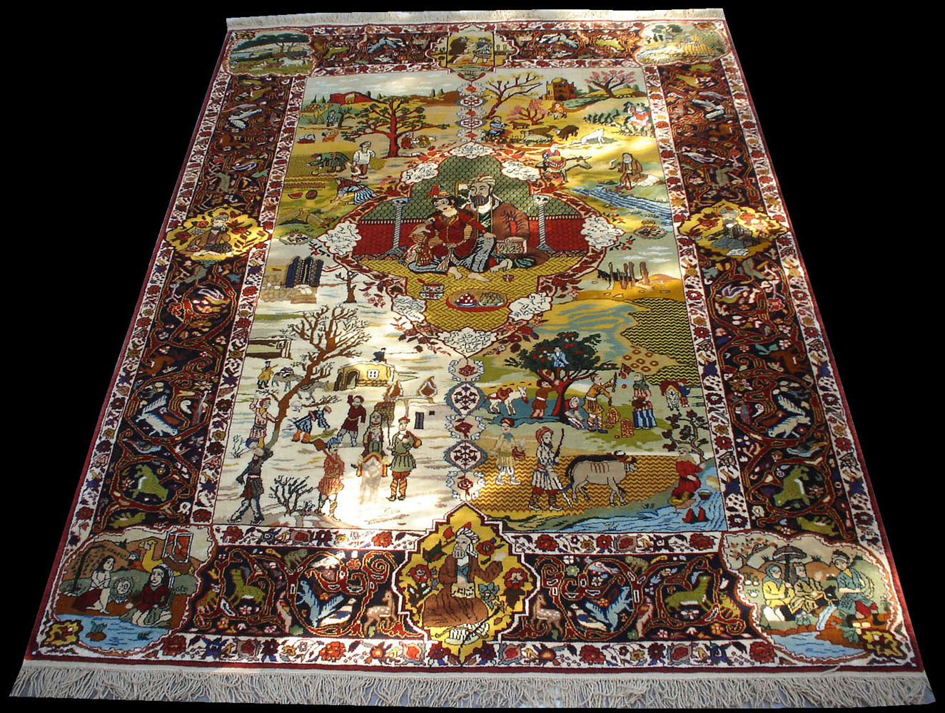 Tabriz Four Seasons Rug Partly Silk Pure Natural Dyes