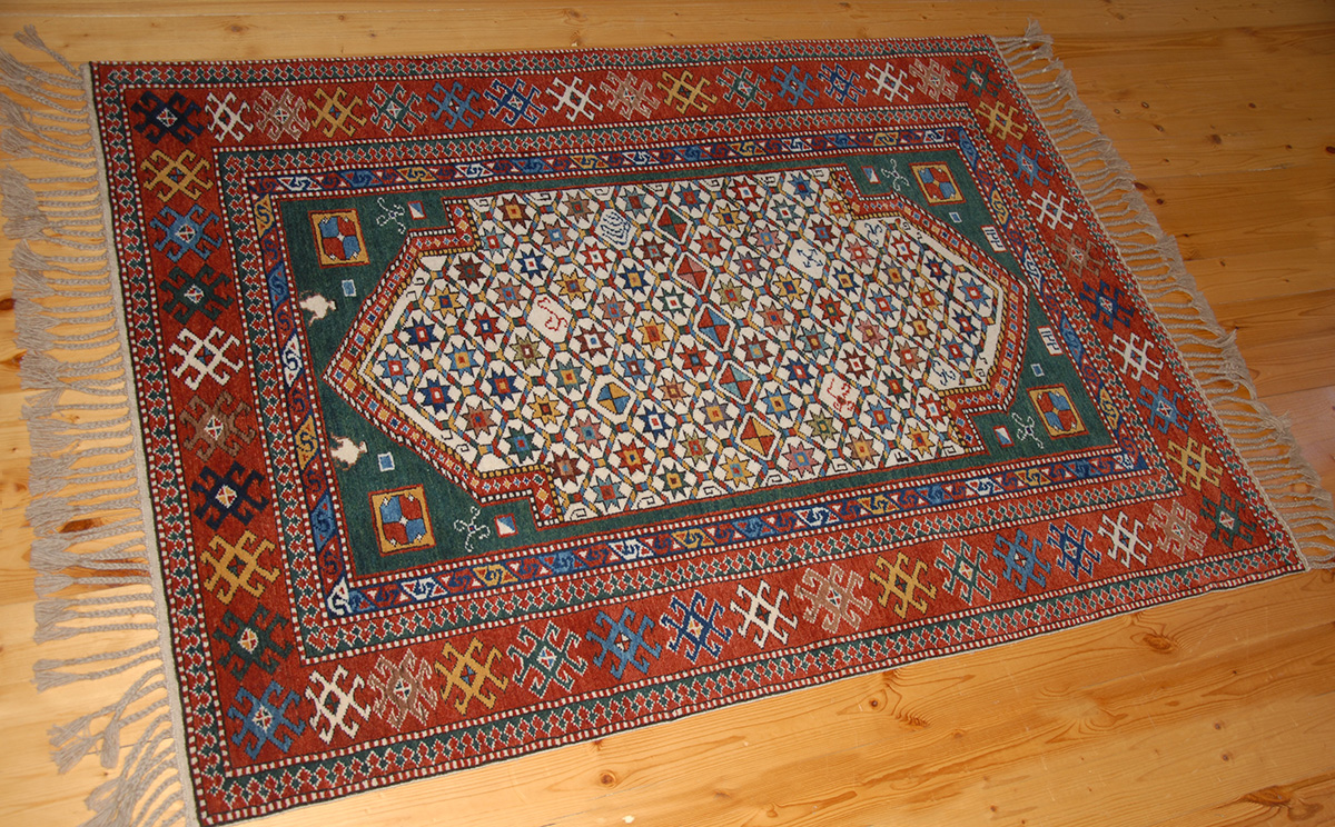 Shirvan Prayer Rug With Cosmic Elements
