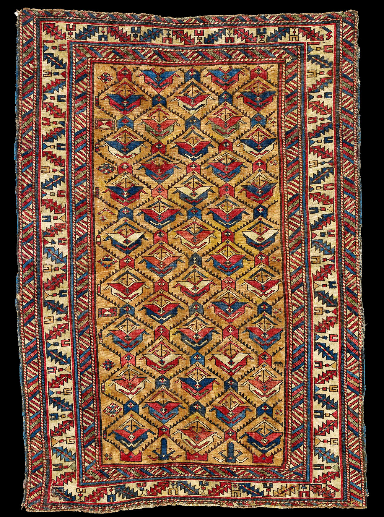 A Yellow Ground Antique Derbend Rug With Large Stylised