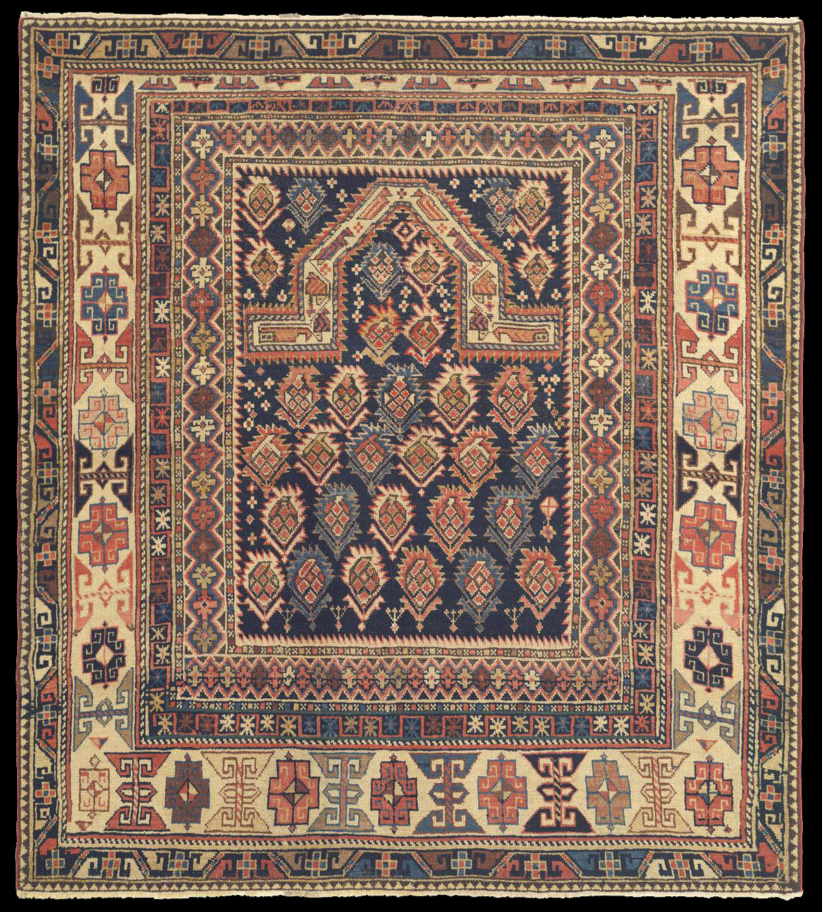Prayer Rug Company: Derbend Daghestani Prayer Rug With The Radiating Boteh Motifs
