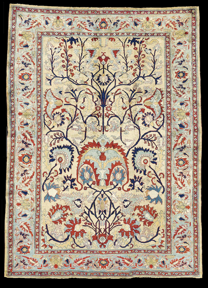Antique Silk Heriz Rug