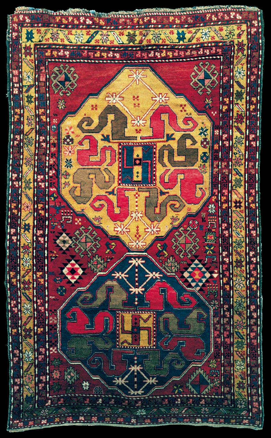 Antique Karabagh Cloudband Rug With Swastika Elements The