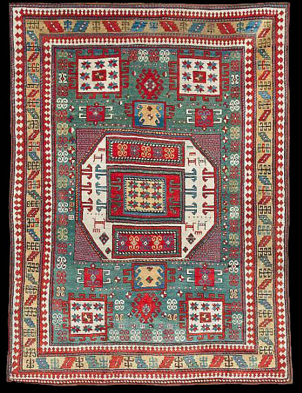Antique Kazak Karachov Rug 19th Century