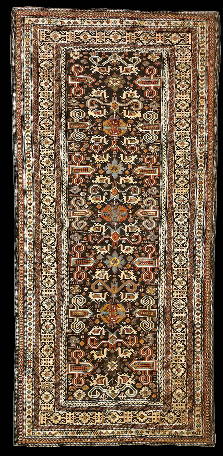 Antique Kuba Perepedil Runner 401 X 184 Cm Late 19th