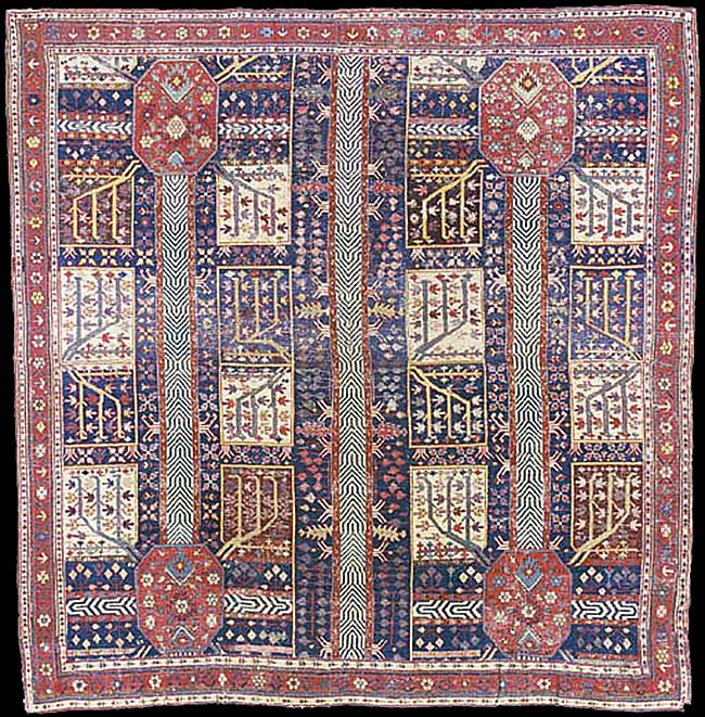 Early azerbaijan rug with the garden design second half for Garden design 18th century