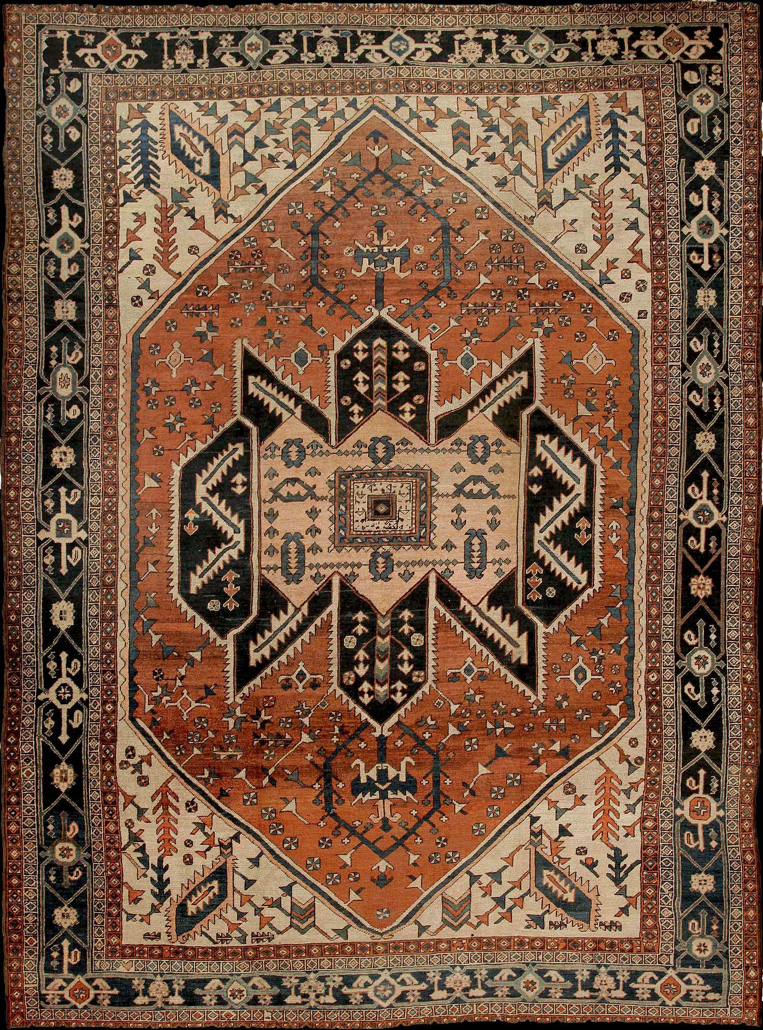 Antique Serapi Carpet With A Bold Medallion Design