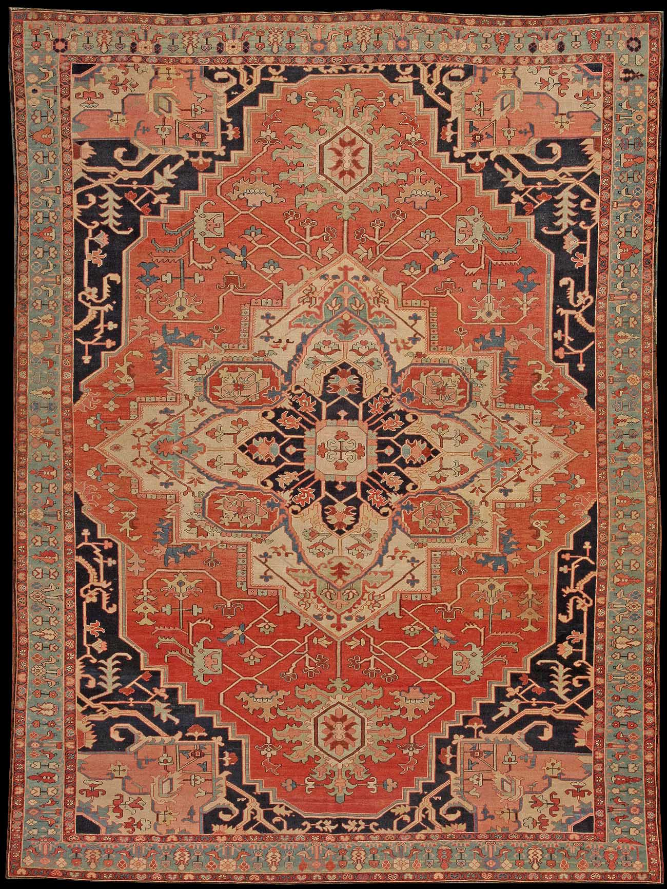 Serapi Carpets Here We See A Relatively Narrow Main Border With An Unusual Design Of Shrubs Or Small Trees All These Qualities Converge To Distinguish