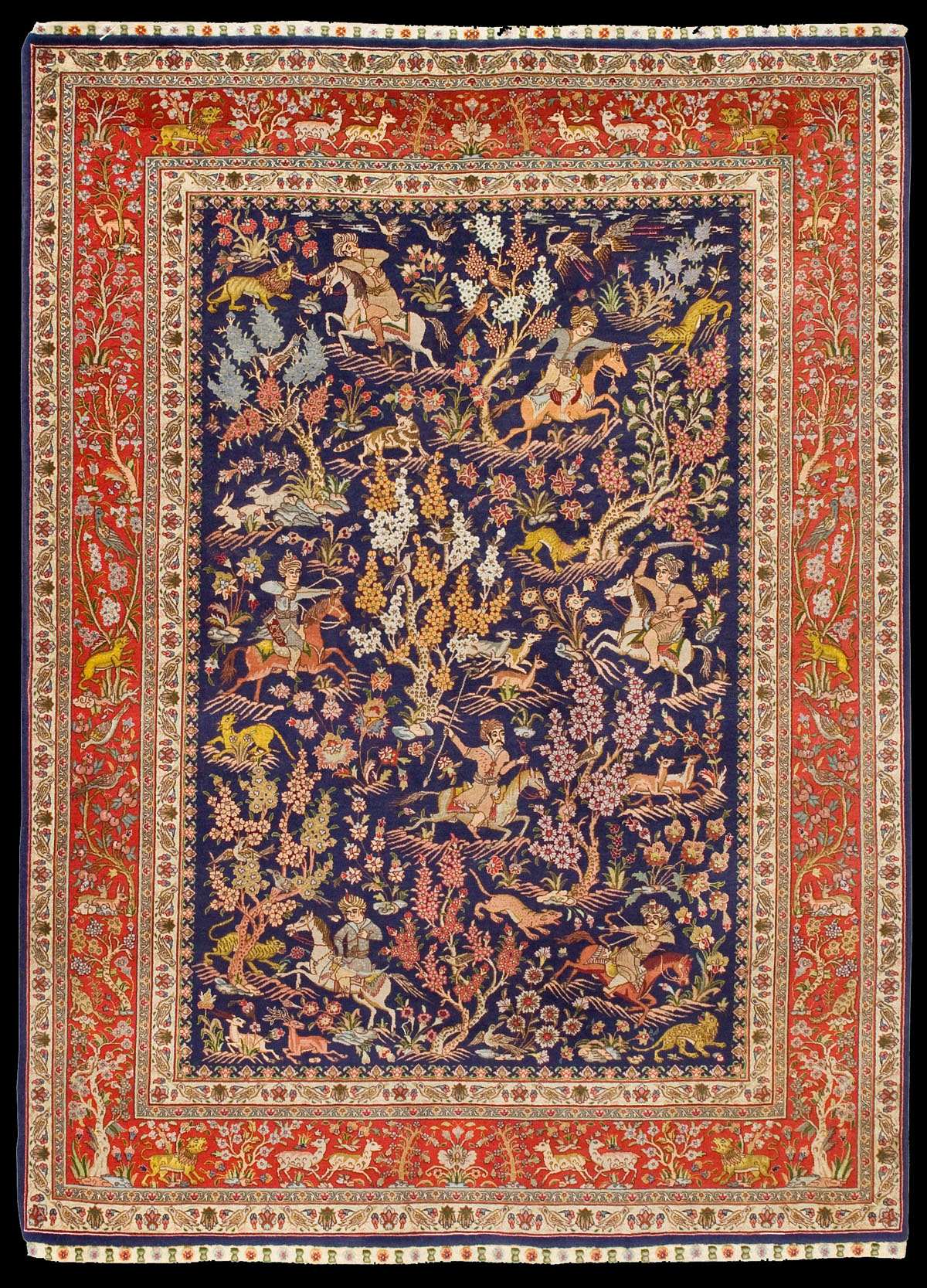 Antique Tabriz Hunting Scene Rug