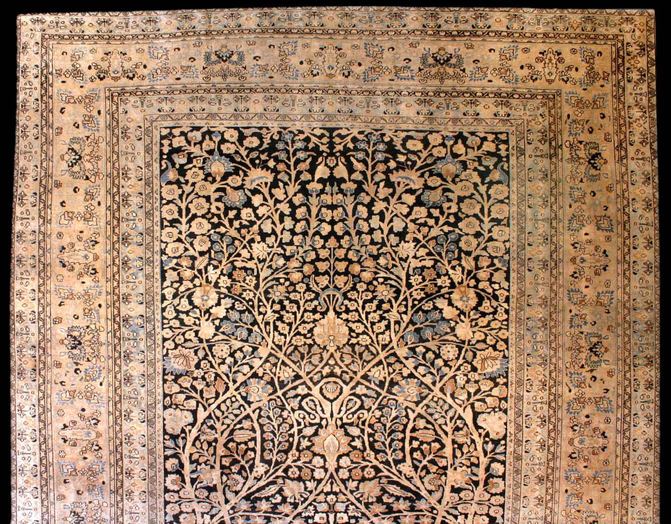 Nice Persian Tabriz Antique Rug, The Black Field With A Lattice Of Flowering  Vines And Palmettes