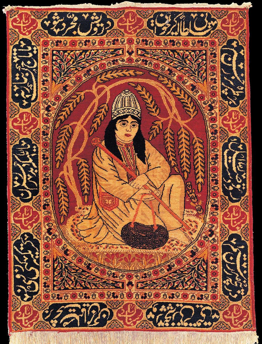 Antique Tabriz Pictorial Rug Dervish Azerbaijan Late