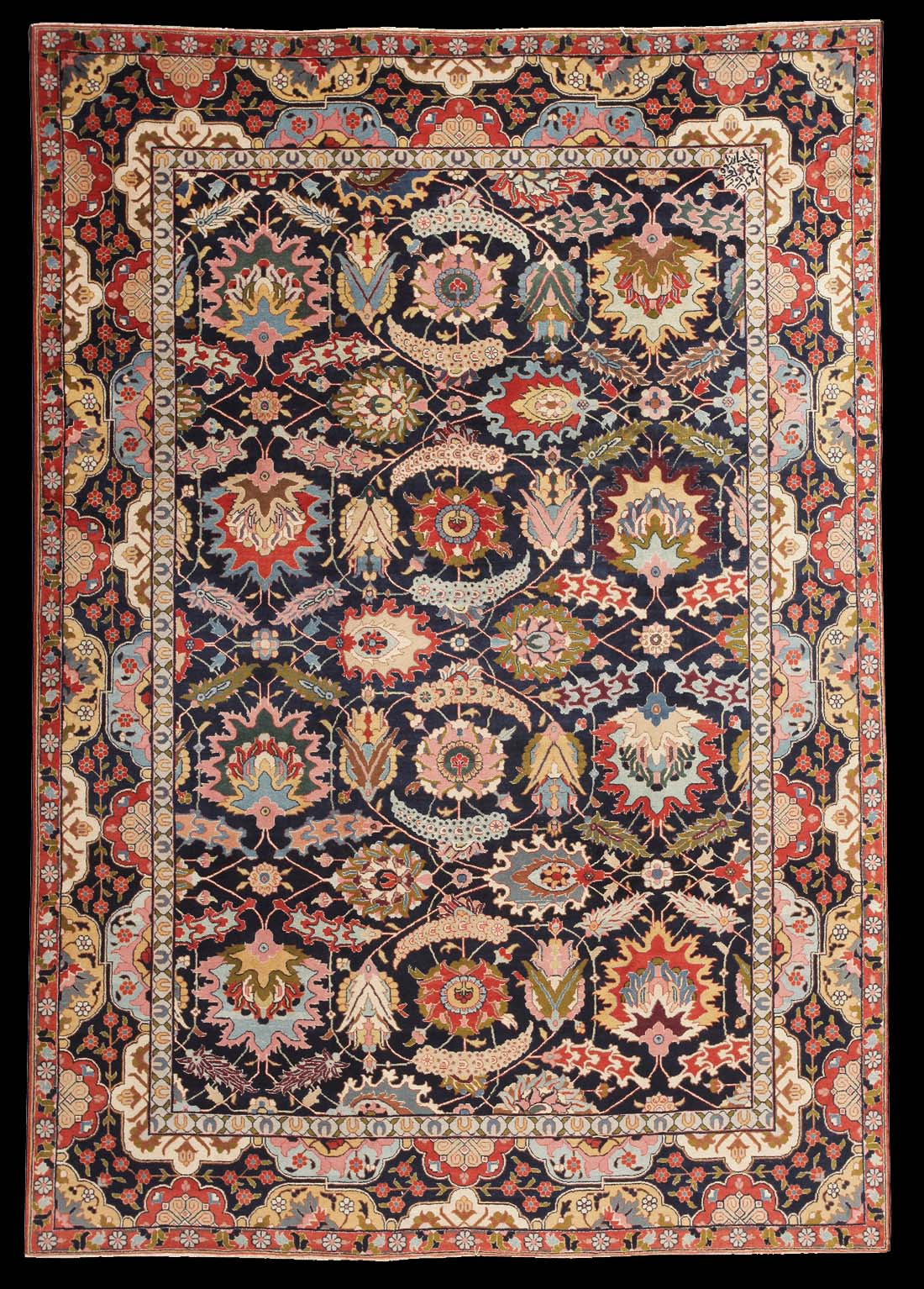 Antique Tabriz Carpet With An Allover Design Of Flame