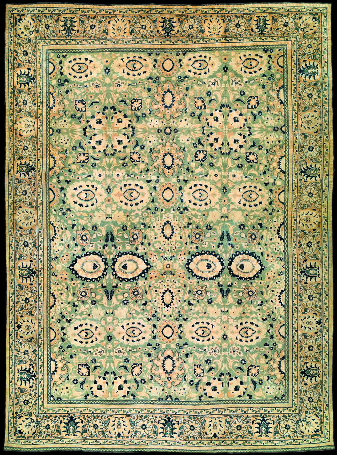 Antique Tabriz Persian Rug With The Moss Green Field