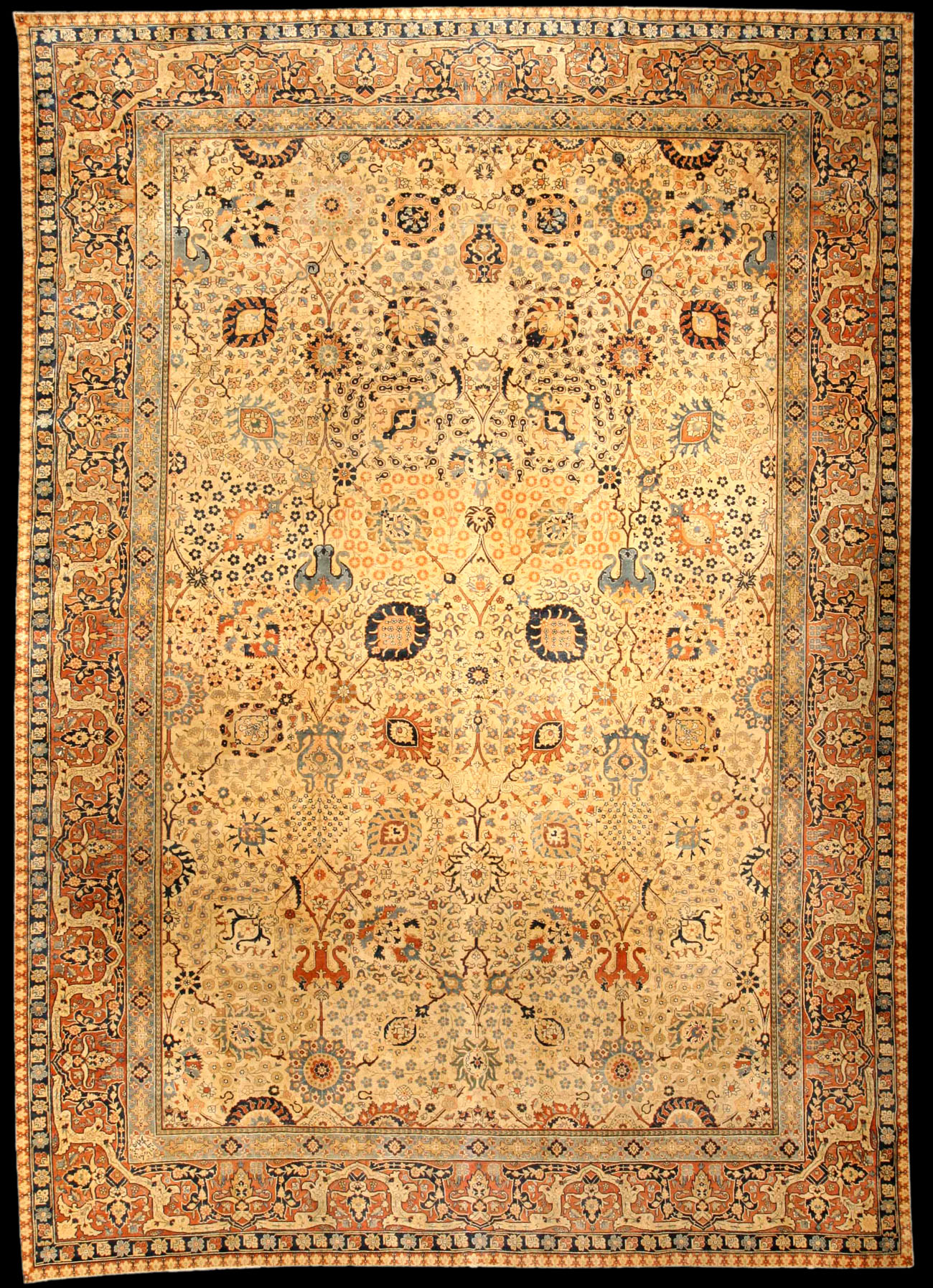 Square Persian Tabriz Rug. Click To Enlarge