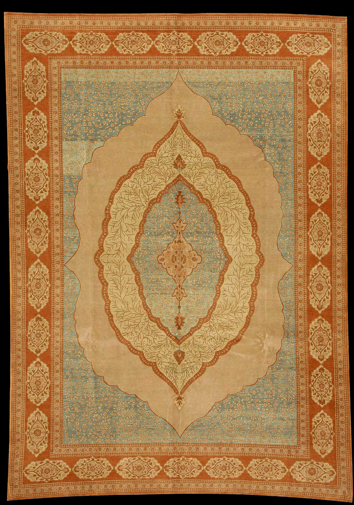 Antique Tabriz Carpet With Four Inset Medallions In A Blue