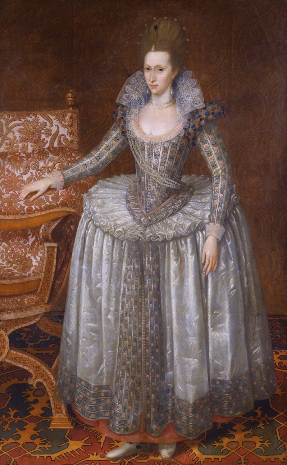 Anne of Denmark (1574-1619), wearing a white farthingale ...
