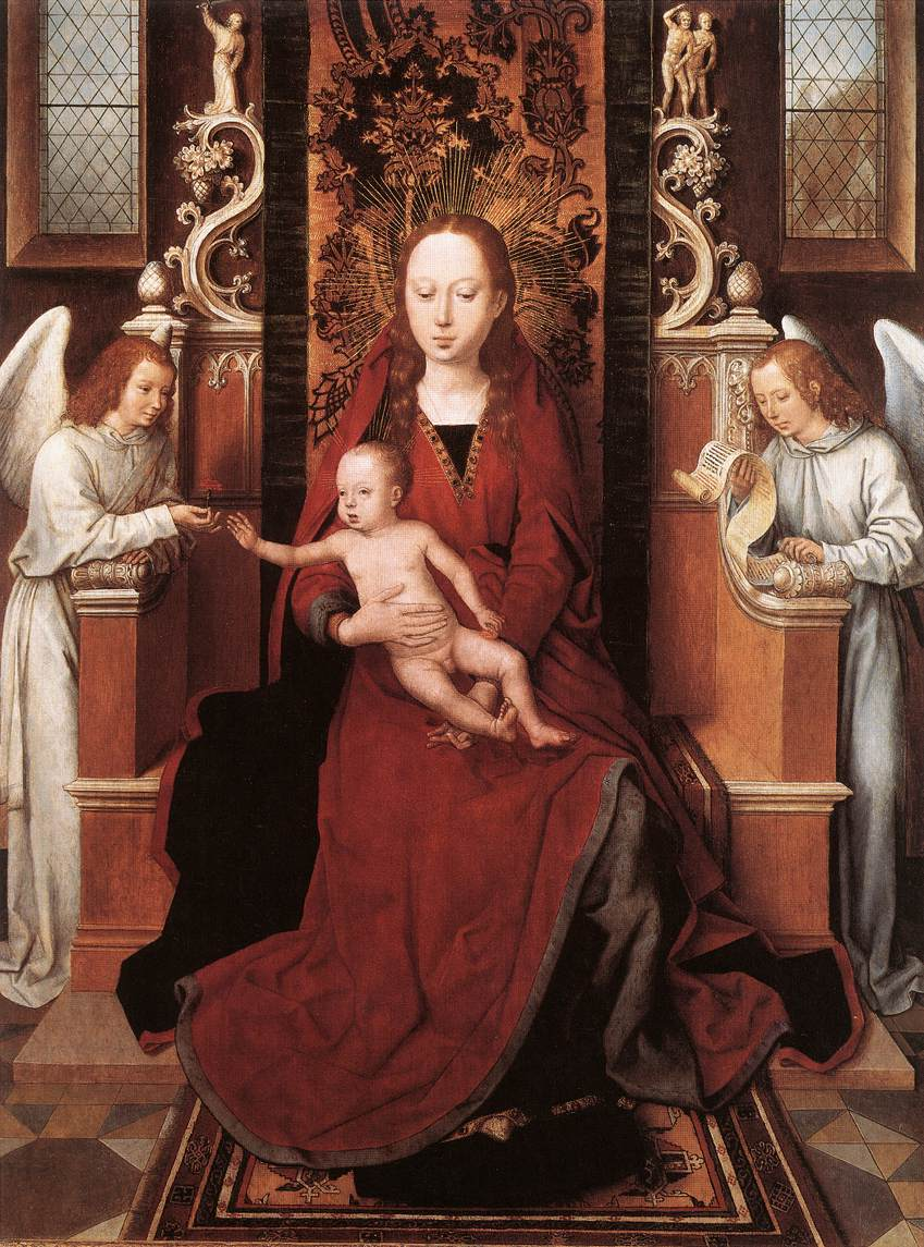 virgin and child enthroned with two angels by hans memling. Black Bedroom Furniture Sets. Home Design Ideas