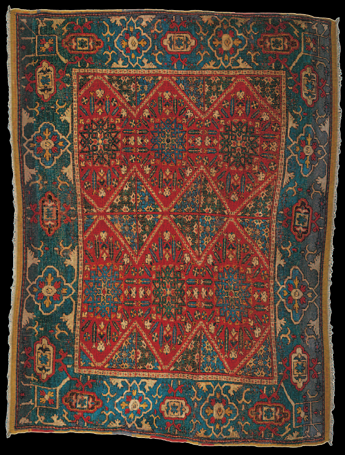 the wher east mediterranean compartment rug, damascus, 16th century